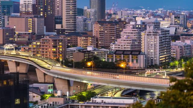 time-lapse fukuoka tower sunset twilight with downtown cityscape in fukuoka city kyushu south of japan - fukuoka prefecture stock videos & royalty-free footage