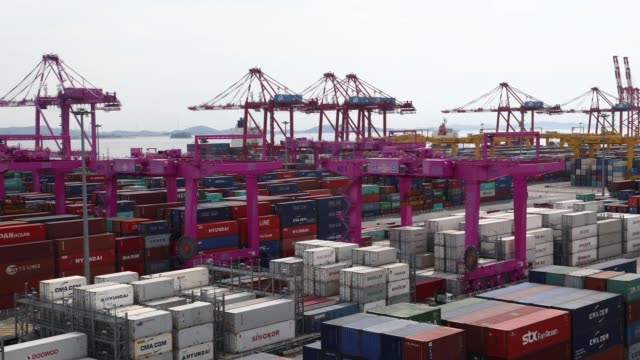 stockvideo's en b-roll-footage met timelapse gantry cranes move among stacked shipping containers at the sun kwang newport container terminal in incheon new port in incheon south korea... - incheon