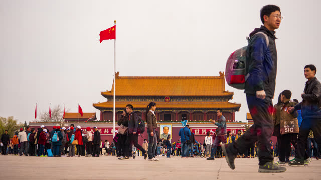 timelapse gate of heavenly peace or tiananmen in beijing china - tiananmen square stock videos & royalty-free footage