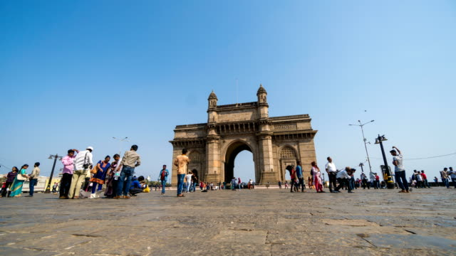 timelapse : gateway of india mumbai, india - mughal empire stock videos and b-roll footage