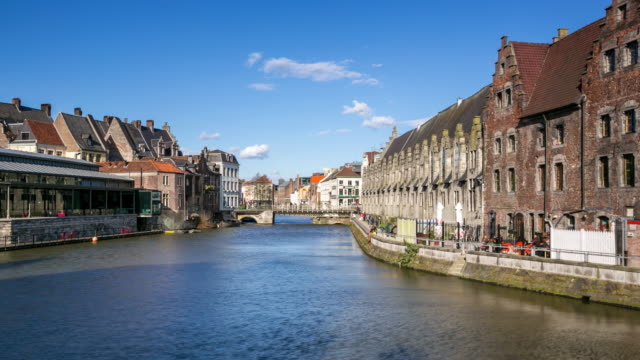 time-lapse: Ghent ancient town Belgium along Leie River