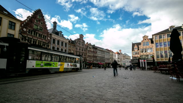 hd time-lapse: ghent ancient town belgium - cable car stock videos & royalty-free footage