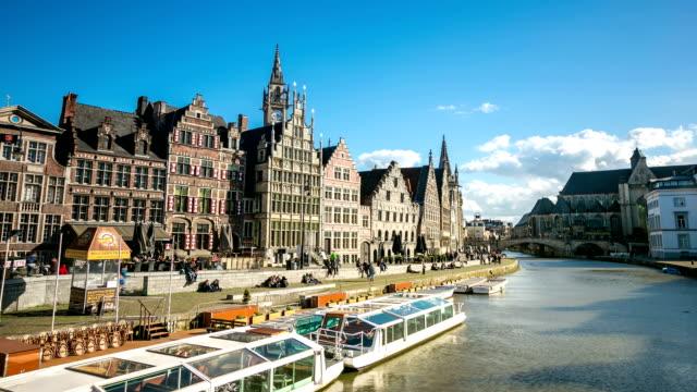 vidéos et rushes de time-lapse hd : vieille ville de gand, en belgique - belgique