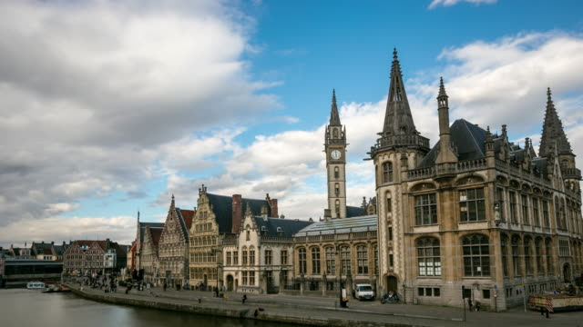 time-lapse: ghent ancient town belgium - belgium stock videos & royalty-free footage