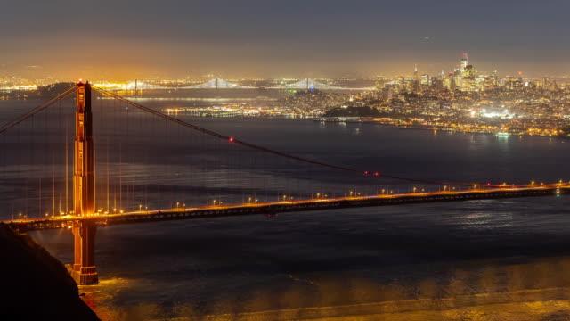 vídeos de stock e filmes b-roll de time-lapse golden gate bridge in san francisco california usa west coast of pacific ocean sunset - portão