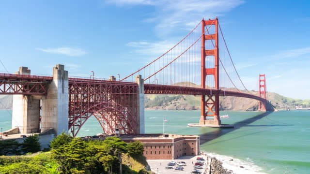 time-lapse golden gate bridge in san francisco california usa west coast of pacific ocean - golden gate bridge stock videos and b-roll footage
