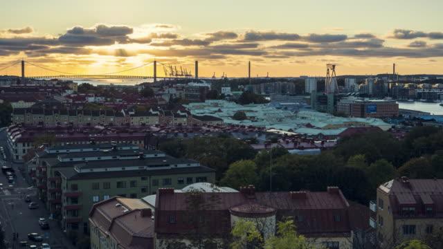Time-lapse Gothenburg skyline in sunset