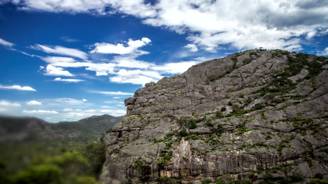 Timelapse Grampians Looking up at rockface cliff White Clouds pass overhead