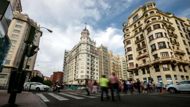 HD Timelapse: Gran Via Madrid Spain at Espana Plaza