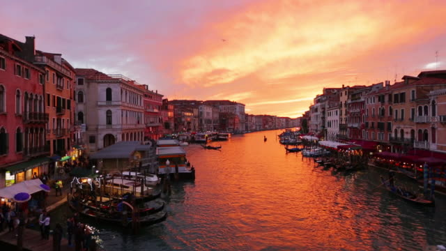 time-lapse: grand canal in venice at sunset, italy - europe stock videos & royalty-free footage