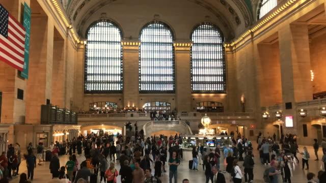 time-lapse grand central new york city - atrio cuore video stock e b–roll