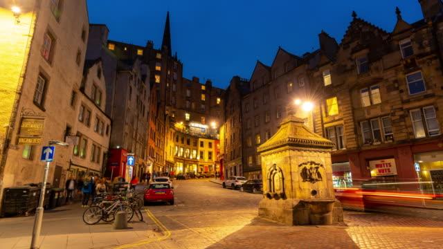 Time-lapse: Grass market Edinburgh Old Town in Scotland UK at night