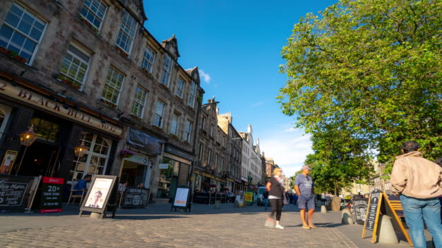 time-lapse: grass market edinburgh old town in scotland uk - edinburgh scotland stock videos & royalty-free footage