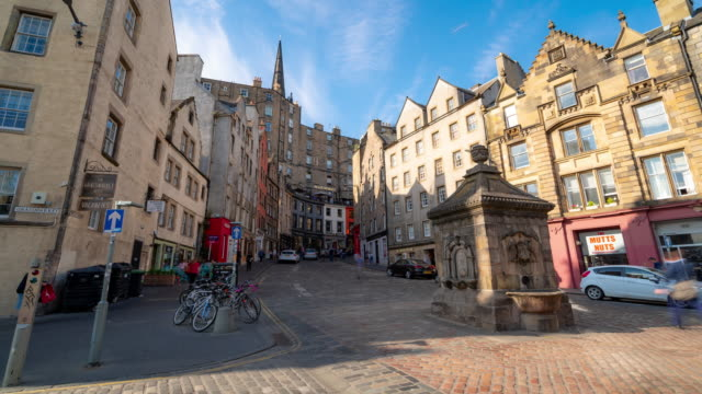 Time-lapse: Grass market Edinburgh Old Town in Scotland UK