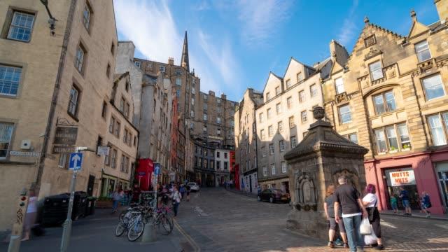 time-lapse: grass market edinburgh old town in scotland uk - edinburgh scotland stock videos & royalty-free footage