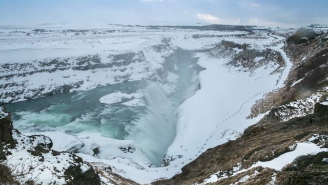 4K Time-lapse: Gulfoss Golden Falls waterfall Iceland in winter