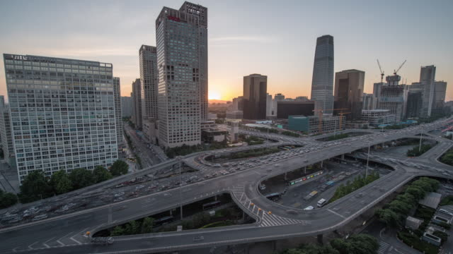 Timelapse Guomao bridge traffic