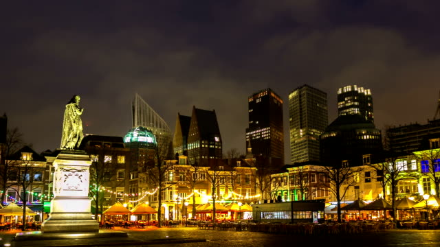 hd time-lapse: hague downtown netherlands night - dusk stock videos & royalty-free footage