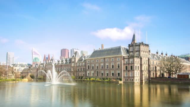 time-lapse: hague downtown netherlands - binnenhof stock videos and b-roll footage