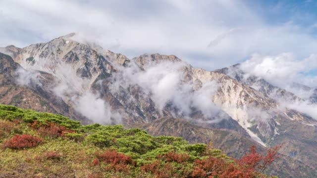 Time-lapse: Hakuba Mountain Range with Autumn Red Leave Nagano Japan