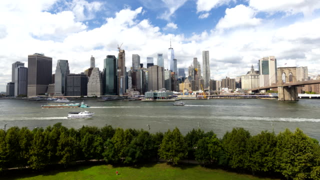 timelapse harbor view lower manhattan skyscrapers commercial ferries - new york harbor stock videos & royalty-free footage