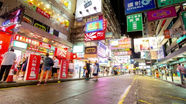 Time-lapse HD: Pedestrians at Mong Kok Shopping Street Hong Kong
