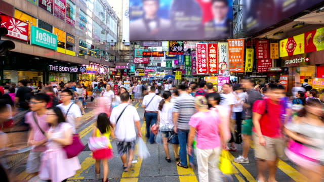 vídeos de stock e filmes b-roll de time-lapse hd: peões mong kok rua comercial hong kong - mong kok