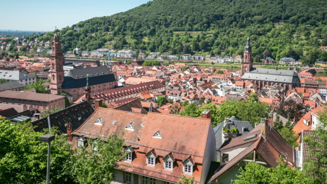 4 k time -lapse (低速度撮影):夏には、ハイデルベルグなどの街、ドイツ - ハイデルベルク点の映像素材/bロール