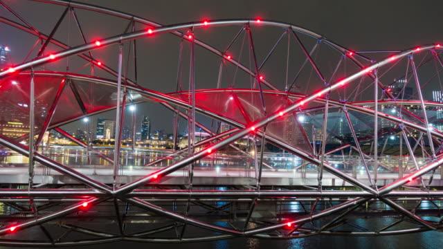 4k timelapse: helix bridge in night. - helix bridge stock videos & royalty-free footage