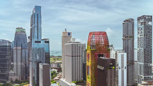 4k time-lapse high view singapore skyline and sea - noelia ramon stock videos & royalty-free footage