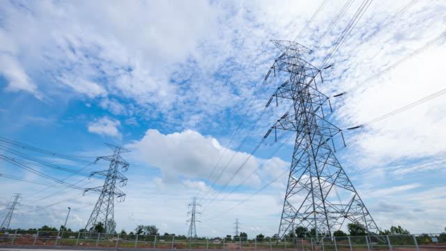 4K Timelapse: high voltage pole.