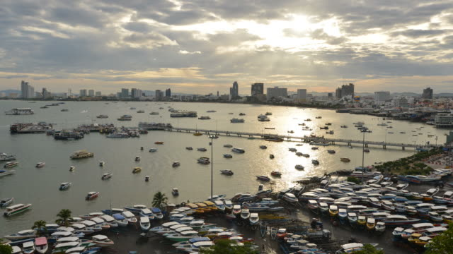 HD Time-lapse: High-angle view of the Pattaya city in the Sunrise.