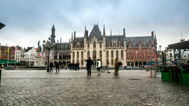 HD time-lapse: Historic Building at Market square Bruges Belgium