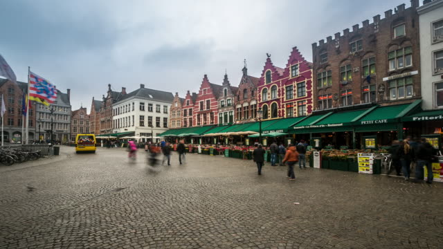 time-lapse: Historic Building at Market square Bruges Belgium