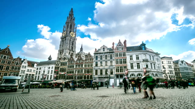 HD Time-lapse: Historic Building bell tower grand market Antwerp Belgium