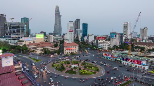 4K time-lapse: Ho Chi Minh City zicht 's nachts