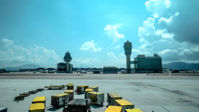 4k timelapse - hong kong airport - hong kong international airport stock videos and b-roll footage