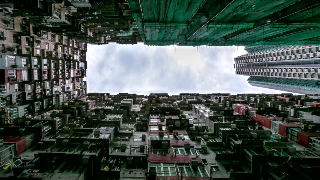 hd time-lapse: hong kong cityscape building background - fish eye lens stock videos & royalty-free footage