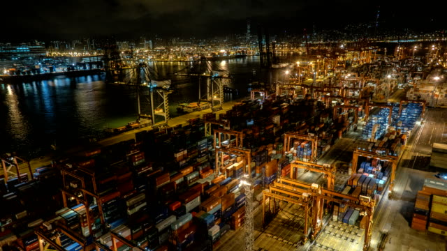 4K Timelapse - Hong Kong Container Terminal at Night