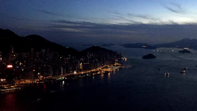 Time-lapse Hong Kong victoria harbor view from top