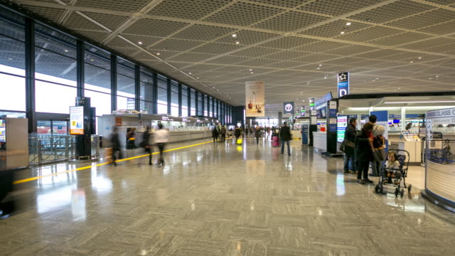time-lapse Hyperlapse: Traveler at Airport Departure Terminal Narita Japan