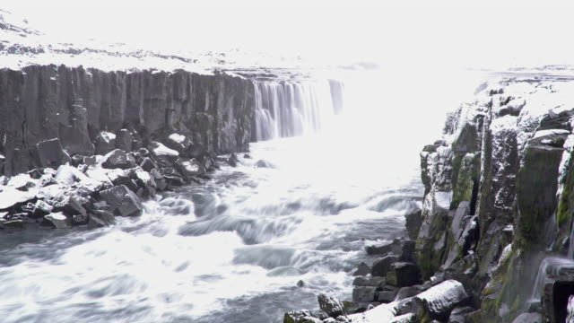 Time-lapse Iceland Selfoss Waterfall in winter with snow