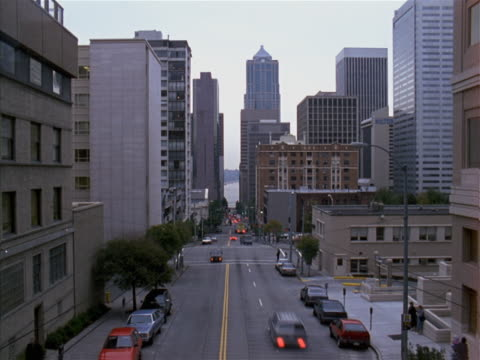 Timelapse image of downtown street.