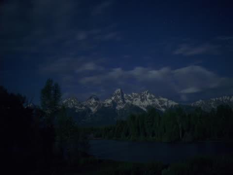 timelapse image of passing mountain thunderstorm. - teton range stock videos & royalty-free footage
