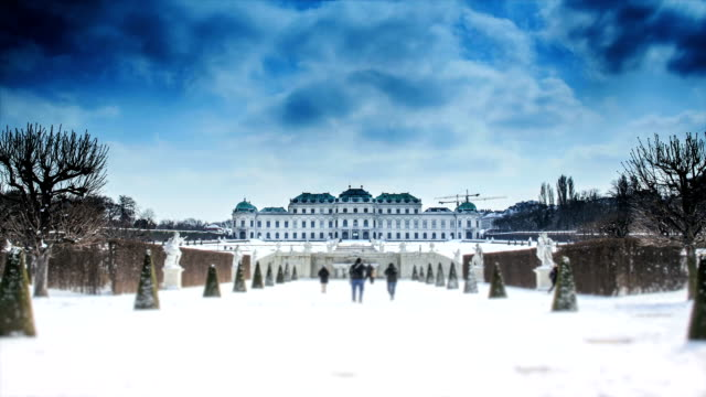 time-lapse in belvedere palace - belvedere palace vienna stock videos & royalty-free footage