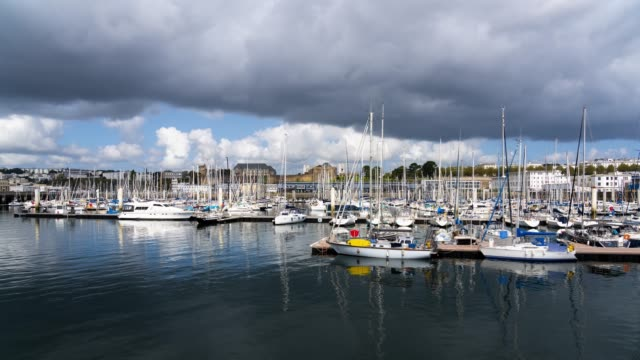 """timelapse in brest harbour """"marina"""" - france stock videos & royalty-free footage"""