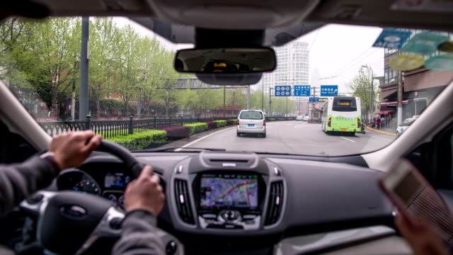 timelapse in car - shanghai video stock e b–roll