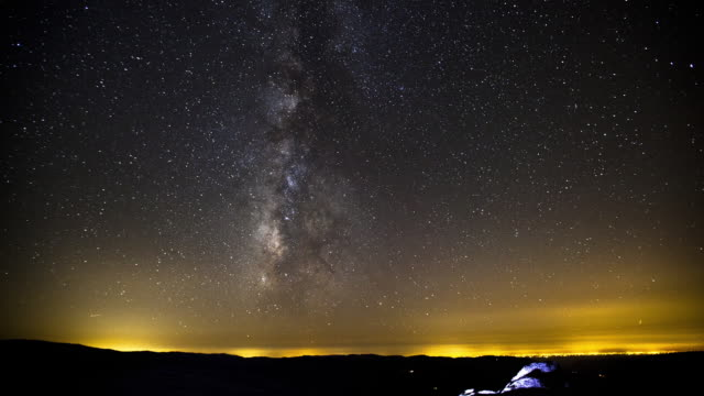Time-Lapse in Yosemite National Park of the milkyway and stars. (Shot from Half-Dome)