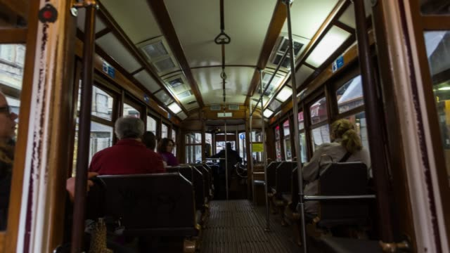 Timelapse inside of the iconic tram in Lisbon