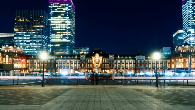 4K Time-lapse Japan night cityscape at tokyo station